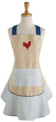 "Design Imports Red Rooster Ruffle Kitchen Apron, 26""x28.5"", 100% Cotton, Red, White, Tan"