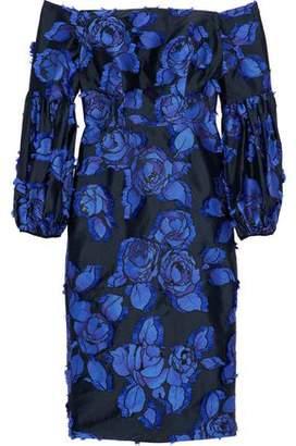 Lela Rose Off-The-Shoulder Fil Coupé Jacquard Satin Dress