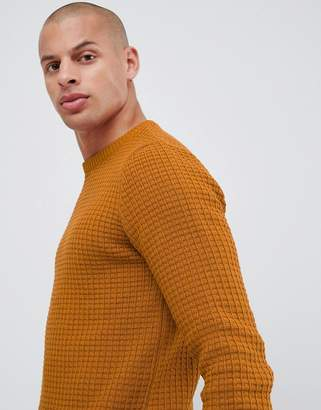 Asos Design DESIGN muscle fit waffle textured jumper in mustard