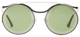 Marni Calder Round Frame Sunglasses - Womens - Green Multi