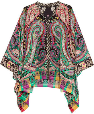 Etro - Asymmetric Printed Silk Crepe De Chine Top - Green $900 thestylecure.com