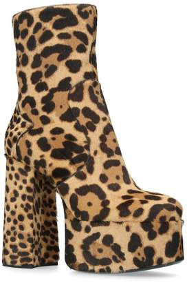 Saint Laurent Leopard Print Billy Platform Boots 140
