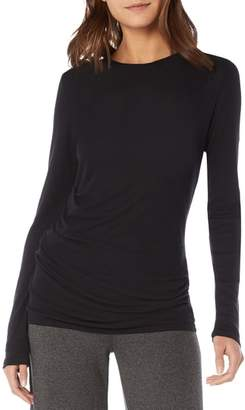 Michael Stars Side Gather Long Sleeve Cotton Blend Top