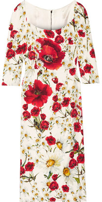 Dolce & Gabbana - Floral-print Crepe Dress - Red $2,345 thestylecure.com