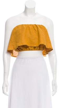Faithfull The Brand Ruffled Linen Crop Top w/ Tags
