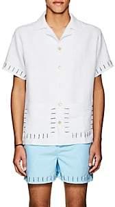 HECHO Men's Guayaber Embroidered Linen Shirt - Lt. Blue