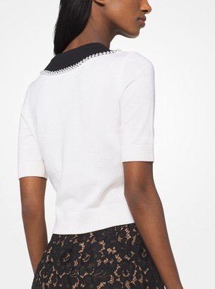 Michael Kors Pearl Embroidered Cashmere Trompe LOeil Pullover