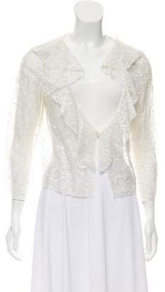 Chanel Embroidered Ruffle-Trimmed Top