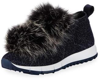 Jimmy Choo Norway Metallic Sneakers With Fur Trim