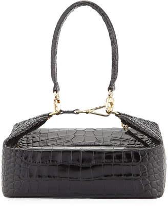 Rejina Pyo Olivia Crocodile-Embossed Top Handle Bag, Black