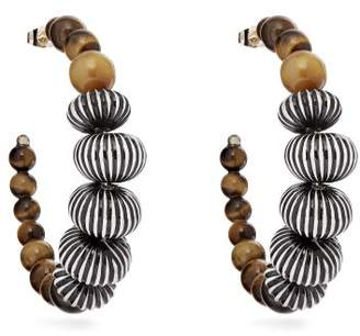 Etro Striped Beaded Hoop Earrings - Womens - Brown