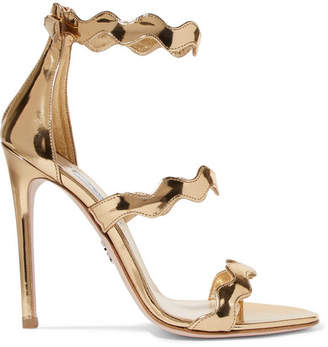 Prada 115 Scalloped Metallic Leather Sandals - Gold