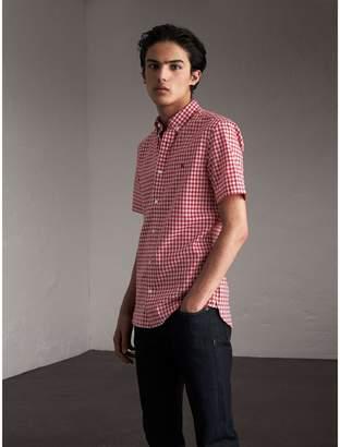 Burberry Short-sleeve Button-down Collar Cotton Gingham Shirt