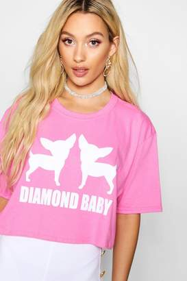 boohoo Diamond Baby Slogan Crop Tee