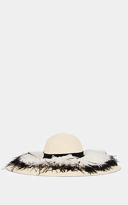 Eugenia Kim Women's Sunny Feather-Embellished Floppy Sun Hat - Beige, Tan