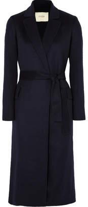 Maje Belted Brushed Wool-blend Felt Coat - Midnight blue