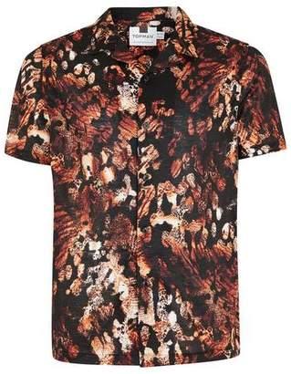Topman Mens Black Animal Jacquard Short Sleeve Shirt