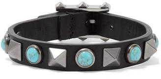 Valentino - The Rockstud Rolling Embellished Leather Bracelet - Black $245 thestylecure.com