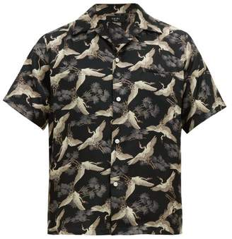 Amiri Crane Silk Shirt - Mens - Black Multi