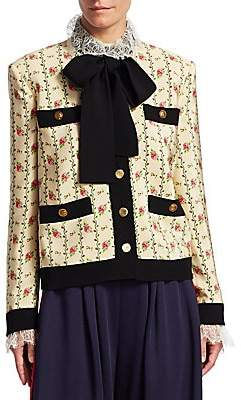 Gucci Women's Floral Pocket-Detail Tie-Neck Jacket