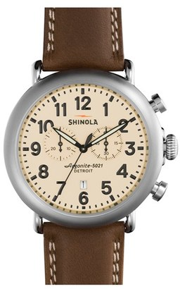 Shinola The Runwell Chrono Leather Strap Watch, 47Mm $750 thestylecure.com