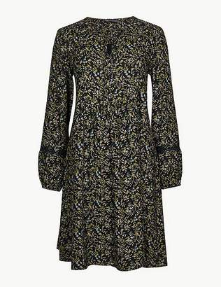 Marks and Spencer Floral Print Long Sleeve Relaxed Mini Dress
