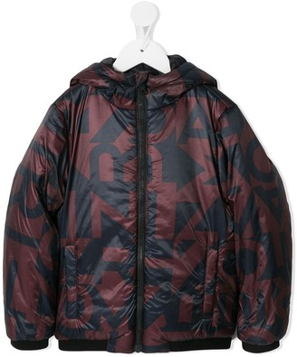 Emporio Armani Kids logo print hooded coat