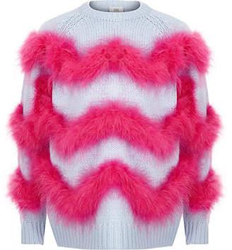 River Island Girls Blue feather trim knit jumper