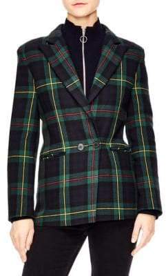 Sandro Framboise Plaid Wool-Blend Blazer