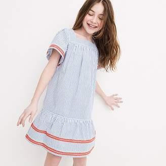 J.Crew Girls' rickrack-trimmed dress in seersucker