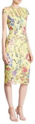 Monique Lhuillier Cap Sleeve Sheath Dress