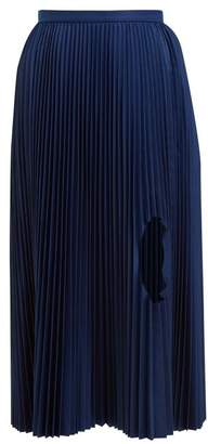 Toga Cut Out Pleated Taffeta Midi Skirt - Womens - Blue