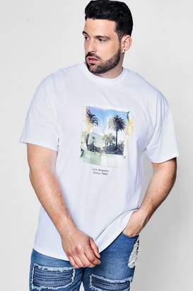 boohoo Big And Tall Polaroid Palm Print T-Shirt