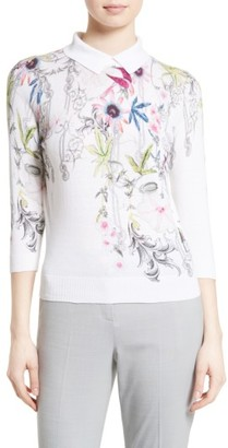 Women's Ted Baker London Kikka Passion Flower Print Sweater $195 thestylecure.com