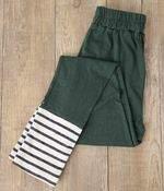 コットンネップ天竺 裾ボーダー刺繍レギンス(A・ブラウン)