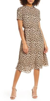 AVEC LES FILLES Leopard Mock Neck Short Sleeve Dress