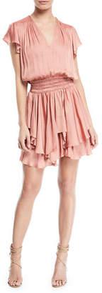Halston V-Neck Ruched-Waist Flounce Mini Dress