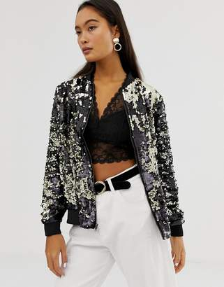 Soaked In Luxury sequin bomber jacket