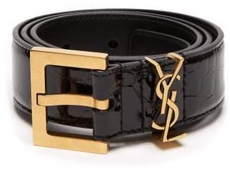 Saint Laurent Monogram Crocodile Effect Patent Leather Belt - Womens - Black