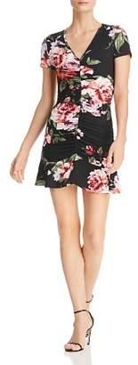 Aqua Ruched Botanical Print Dress - 100% Exclusive