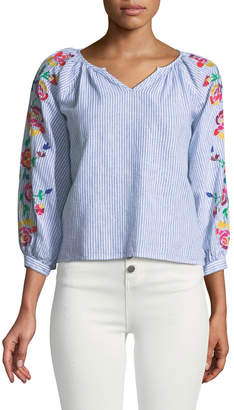 philosophy Striped Embroidered-Sleeve Peasant Blouse