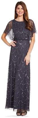 Adrianna Papell Womens Grey Bead Blouson Dress - Grey