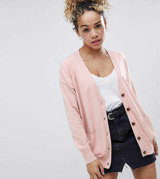 Asos DESIGN Petite boyfriend cardigan in fine knit