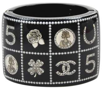 """Chanel 14C Silver Tone Hardware with Crystals, Simulated Glass Pearl, Resin Logo """" Lucky Charms"""" Bracelet"""
