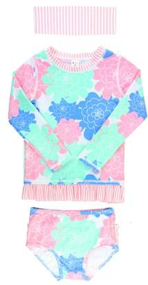 RuffleButts Pastel Petals Two-Piece Rashguard Swimsuit & Head Wrap Set