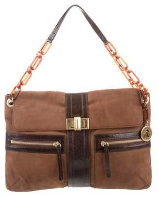 Lanvin Suede Chain-Link Flap Bag Brown Suede Chain-Link Flap Bag