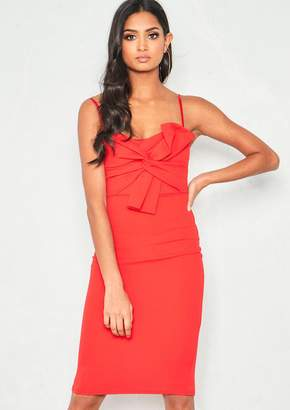 36b2b040bb Missy Empire Missyempire Courtney Red Bow Front Midi Dress