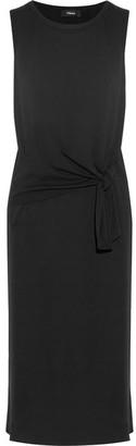 Theory - Dorotea K Tie-front Cotton Midi Dress - Black $325 thestylecure.com