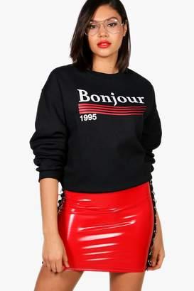 boohoo Bonjour 1995 Slogan Sweatshirt