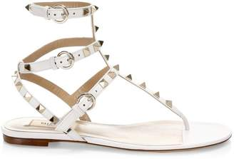 Valentino Rockstud Ankle-Strap Leather Thong Sandals